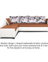 Adorn India Aliana L Shape Leatherette Fabric 5 Seater Sofa (Left Side Handle)(Rust & White)