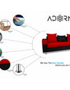 Adorn India Adillac 5 Seater Corner Sofa(Right Side)(Red & Black)
