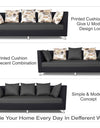 Adorn India Exclusive Two Tone Alica 3-1-1 Five Seater Sofa Set (Dark Grey & Black)