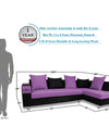 Adorn India Adillac 5 Seater Corner Sofa(Right Side)(Light Purple & Black)