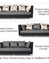 Adorn India Exclusive Two Tone Alica Three Seater Sofa (Light Grey & Black)