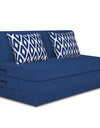 Adorn India Easy Highback Three Seater Sofa Cum Bed Rhombus 6' x 6' (Blue)