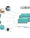 Adorn India Alexander L Shape Sofa (Left Side Handle)(Aqua Blue)