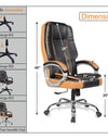 Adorn India Elegante,High-Back Leatherette Executive Office Ergonomic Chair (Black & Tan)