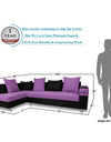 Adorn India Adillac 5 Seater Corner Sofa(Left Side Handle)(Light Purple & Black)