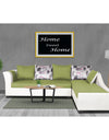 Adorn India Aliana L Shape Leatherette Fabric 5 Seater Sofa (Green & White)