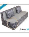 Adorn India Easy Three Seater Sofa Cum Bed Poly Cotton (Blue & Grey) (6'x 6')