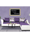 Adorn India Aliana L Shape Leatherette Fabric 5 Seater Sofa (Dark Purple & White)