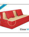Adorn india Easy Two Seater Sofa Cum Bed (3 Years Warrenty Quality Foam)-Perfect for Seat & Sleep Washeble Polyster Fabric Cover (Red & Beige) 4'x6'.Pillows Free