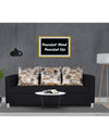 Adorn India Alita 3 Seater Compact Sofa (Black)