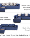 Adorn India Mclain L Shape 5 Seater Sofa (Left Side Handle)(Blue)