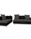 Adorn India Adillac 5 seater corner sofa(left side handle)(grey & black)