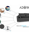 Adorn India Straight line L Shape Sofa (Dark Grey)
