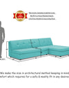 Adorn India Atlas Modular Sofa Set (Aqua Blue)