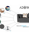 Adorn India Alica 3 Seater Sofa (Dark Grey)