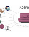 Adorn India Arden 3 Seater Sofa Cum Bed Fabric (Light Purple)