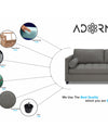 Adorn India Alexander L Shape Sofa (Right Side Handle)(Light Grey)