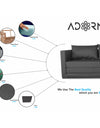Adorn India Straight line 3 Seater Sofa Cum Bed (Dark Grey)
