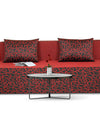 Adorn India Easy Three Seater Sofa Cum Bed Poly Cotton (Maroon and Black) (6 x 6)