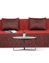 Adorn India Easy Three Seater Sofa Cum Bed Poly Cotton (Maroon & Black) 5'X6'