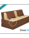 Adorn india Easy Two Seater Sofa Cum Bed (3 Years Warrenty Quality Foam)-Perfect for Seat & Sleep Washeble Polyster Fabric Cover (Brown & Beige) 4'x6'.Pillows Free