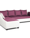 Adorn India Aliana L Shape Leatherette Fabric 5 Seater Sofa (Left Side Handle)(Light Purple & White)