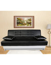 Adorn India Alexa 3 seater sofa cumbed (black & white)