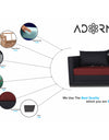 Adorn India Exclusive Two Tone Straight Line Three Seater Sofa Cum Bed (Maroon & Black)
