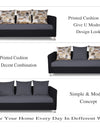 Adorn India Exclusive Two Tone Alita Compact 3-1-1 Sofa Set (Dark Grey & Black)