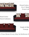 Adorn India Exclusive Two Tone Alita Compact 3-1-1 Sofa Set (Maroon & Black)