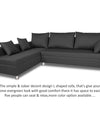 Adorn India Straight Line L Shape Sofa (Left Side Handle)(Dark Grey)