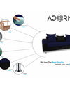Adorn India Adillac 5 Seater Corner Sofa(Right Side)(Navy Blue & Black)