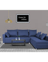 Adorn India Straight line L Shape Sofa (Blue)