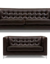 Adorn India Exclusive Cosmos Leaterette 3+2 Sofa Set (Brown)