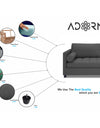 Adorn India Alexander L Shape Sofa (Right Side Handle)(Dark Grey)