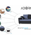 Adorn India Orlando Fabric L Shape Sofa (Black & Dark Grey)