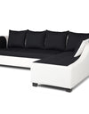 Adorn India Aliana L Shape Leatherette Fabric 5 Seater Sofa (Black & White)