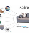 Adorn India Orlando Fabric L Shape Sofa (Dark Grey & Light Gery)