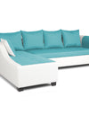 Adorn India Aliana L Shape Leatherette Fabric 5 Seater Sofa (Left Side Handle)(Aqua Blue & White)