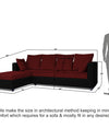 Adorn India Zink Straight line L Shape 5 Seater Sofa Plain Cushion (Left Side Handle)(Maroon & Black)
