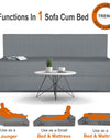 Adorn India Easy Treno 3 Seater Sofa Cum Bed Sit & Sleep Perfect for Guest, Colour Grey, 5'x6'