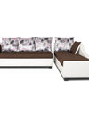 Adorn India Aliana L Shape Leatherette Fabric 5 Seater Sofa (Brown & White)