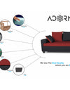 Adorn India Orlando Fabric L Shape Sofa (Black & Maroon)