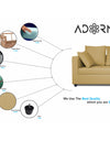 Adorn India Zink Straight line L Shape 5 Seater Sofa Plain Cushion (Beige)