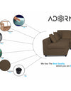 Adorn India Rio Decent L Shape 5 Seater coner Sofa Set (Left Side Handle) (Brown)