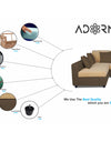 Adorn India Rio Decent L Shape 5 Seater coner Sofa Set (Left Side Handle) (Brown & Beige)