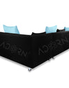 Adorn India Adillac 5 Seater Corner Sofa(Right Side)(Sky Blue & Black)