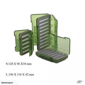 Olive Green Transparent Waterproof Slit Foam Fly Box