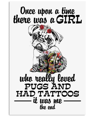 Vintage Funny A Girl Who Loves Pugs And Has Tattoos Birthday Gift Vertical Poster