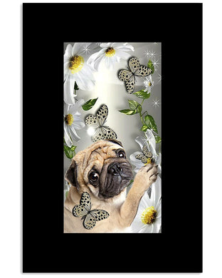 Pug Butterfly Daisy Cute Lovely Gifts Vertical Poster
